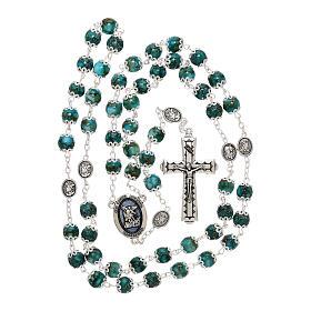 Chapelet Saint Michel verre turquoise 6 mm s5