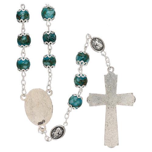 Chapelet Saint Michel verre turquoise 6 mm 2