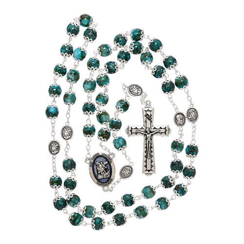 Chapelet Saint Michel verre turquoise 6 mm 5