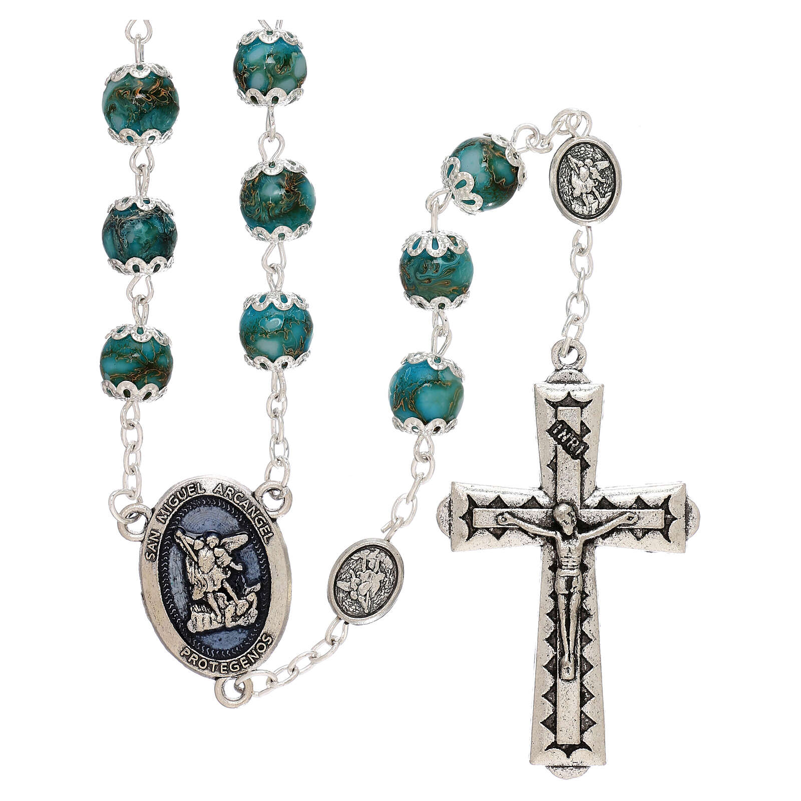 Saint Michael rosary turquoise color glass 6 mm 4