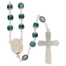 Saint Michael rosary turquoise color glass 6 mm s2