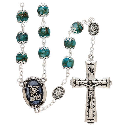 Saint Michael rosary turquoise color glass 6 mm 1