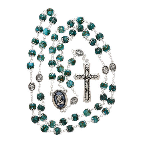 Saint Michael rosary turquoise color glass 6 mm 5