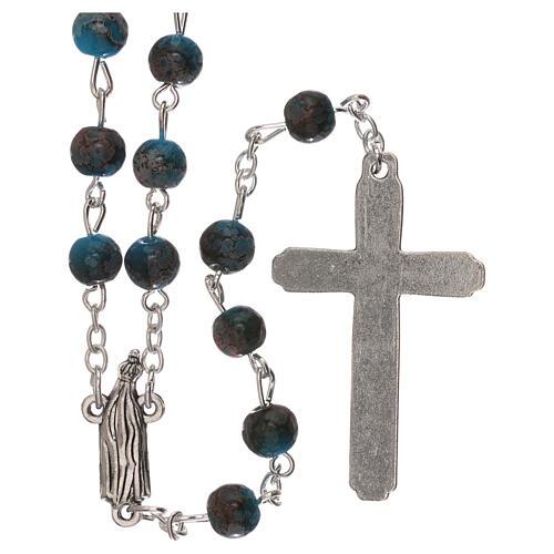 Rosario Virgen de Fátima vidrio azul ambarino 4 mm 2