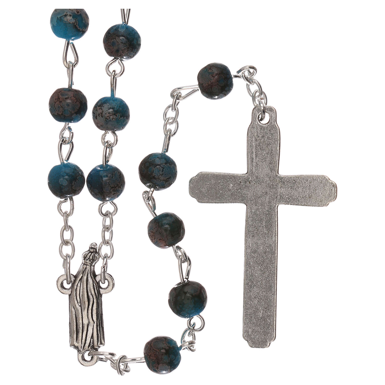 Rosario Madonna di Fatima vetro azzurro ambrato 4 mm 4