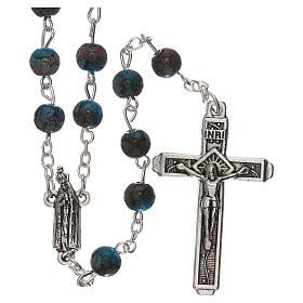 Rosario Madonna di Fatima vetro azzurro ambrato 4 mm s1
