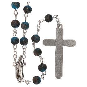 Rosario Madonna di Fatima vetro azzurro ambrato 4 mm s2