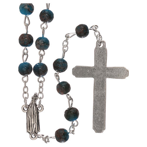 Rosario Madonna di Fatima vetro azzurro ambrato 4 mm 2
