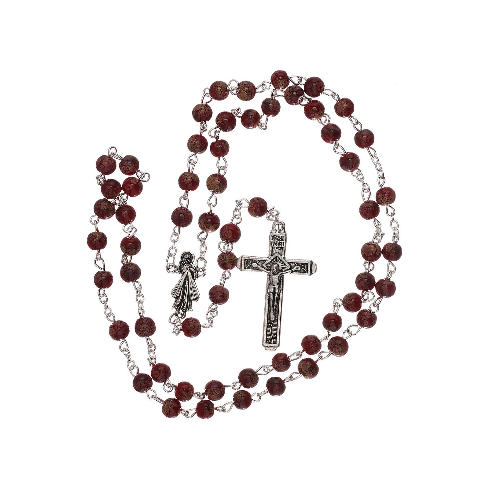 Rosario Virgen Misericordiosa divina vidrio rojo 4 mm 4