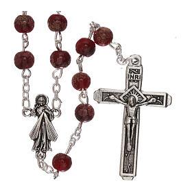 Rosario Virgen Misericordiosa divina vidrio rojo 4 mm s1
