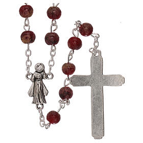 Rosario Virgen Misericordiosa divina vidrio rojo 4 mm s2