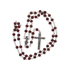 Rosario Madonna Misericordia divina vetro rosso 4 mm s4