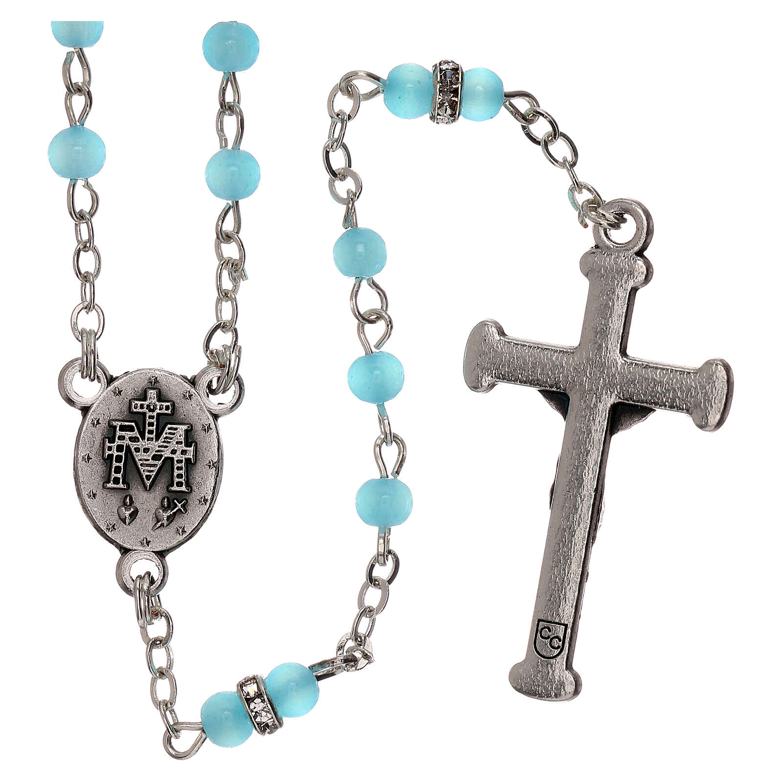 Rosary with beads in sky blue glass 1 mm 4
