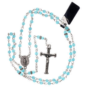 Rosary with beads in sky blue glass 1 mm s4