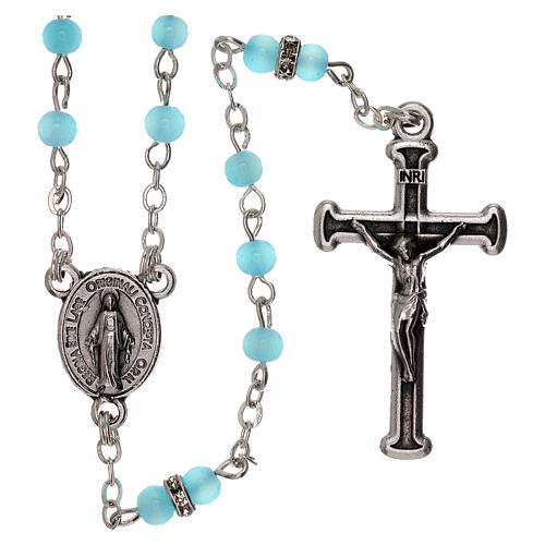 Rosary with beads in sky blue glass 1 mm 1