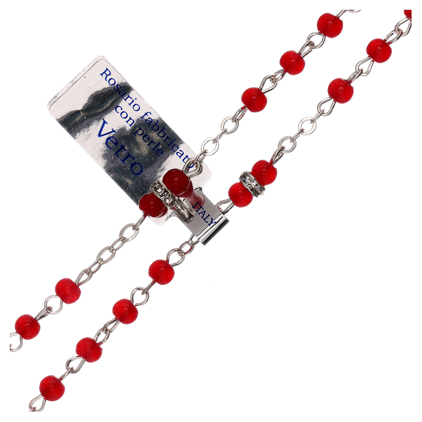 Rosary with beads in red glass 1 mm 4