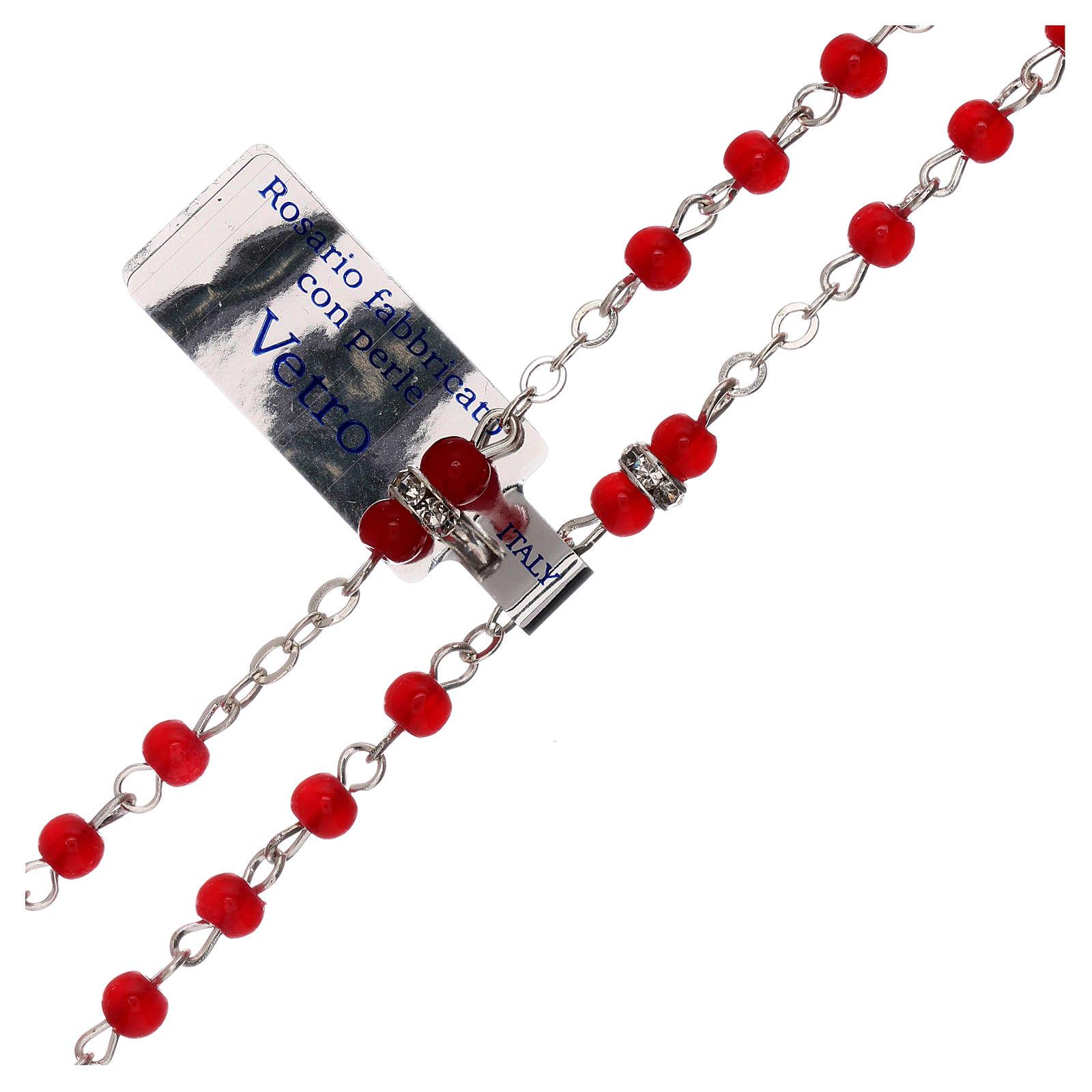 Rosario in vetro rosso con grani 1 mm 4