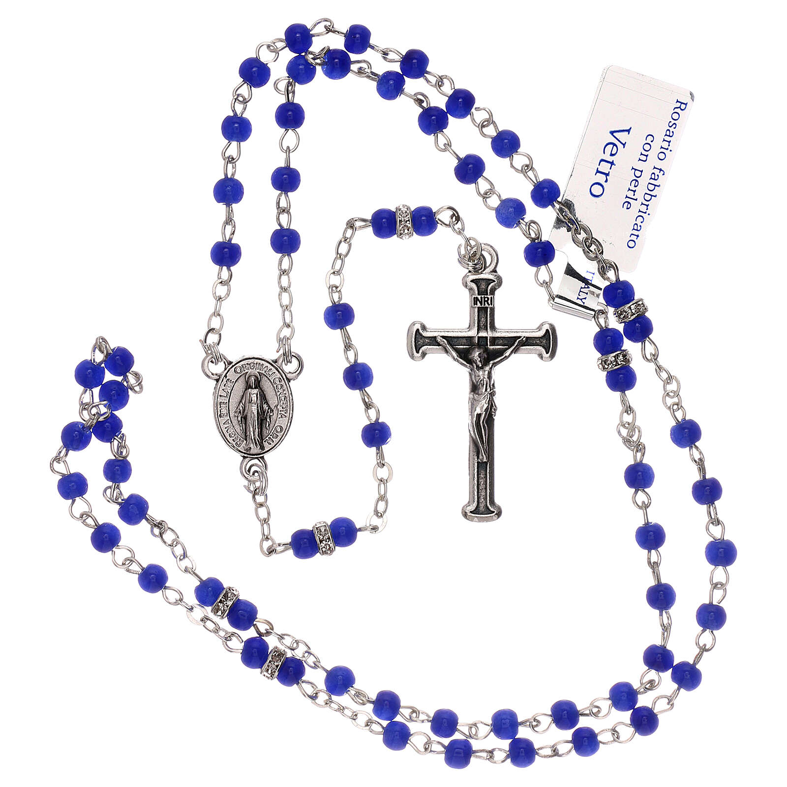Rosary with beads in blue glass 1 mm 4