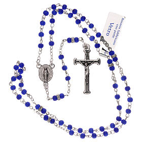 Rosary with beads in blue glass 1 mm s4