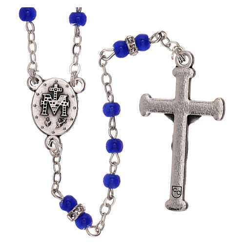 Rosary with beads in blue glass 1 mm 2