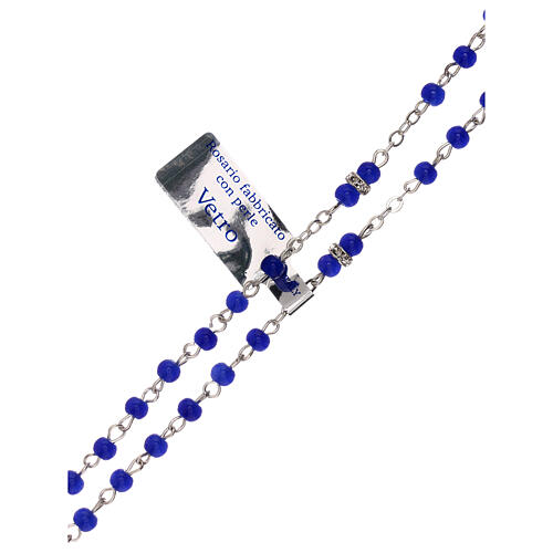 Rosary with beads in blue glass 1 mm 3