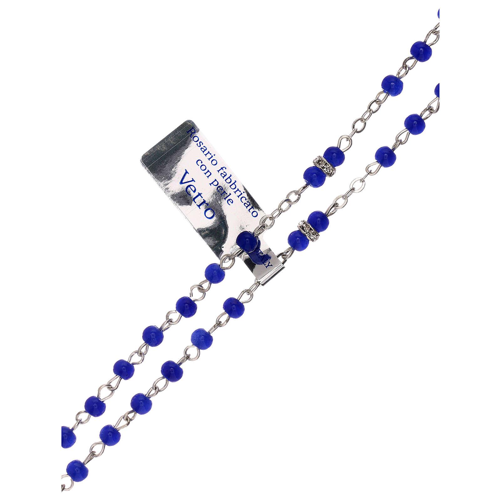 Rosario blu in vetro con grani 1 mm 4