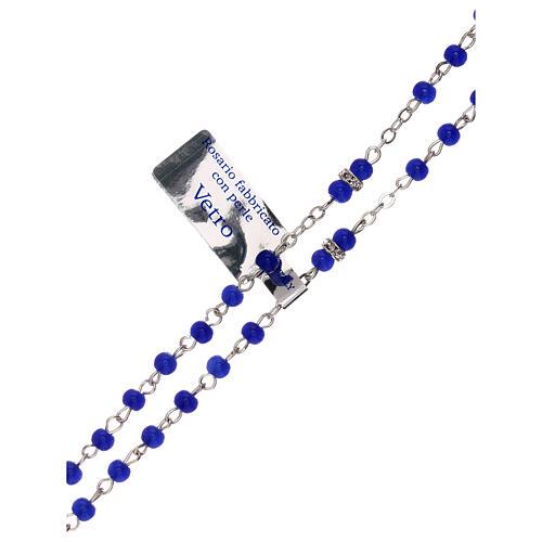 Rosario blu in vetro con grani 1 mm 3