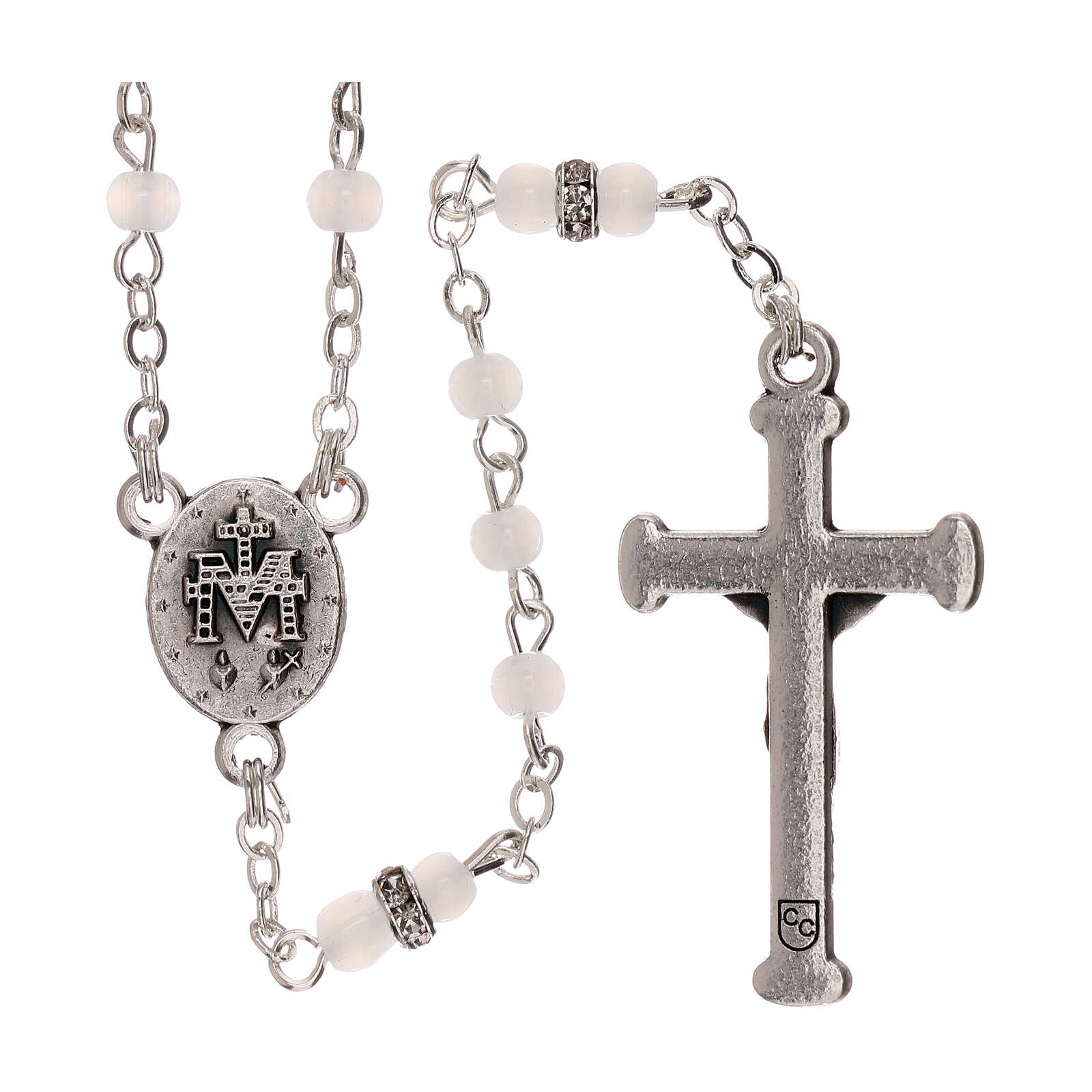Rosary with beads in white glass 1 mm 4