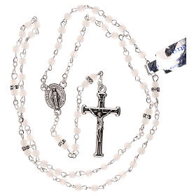 Rosary with beads in white glass 1 mm s4