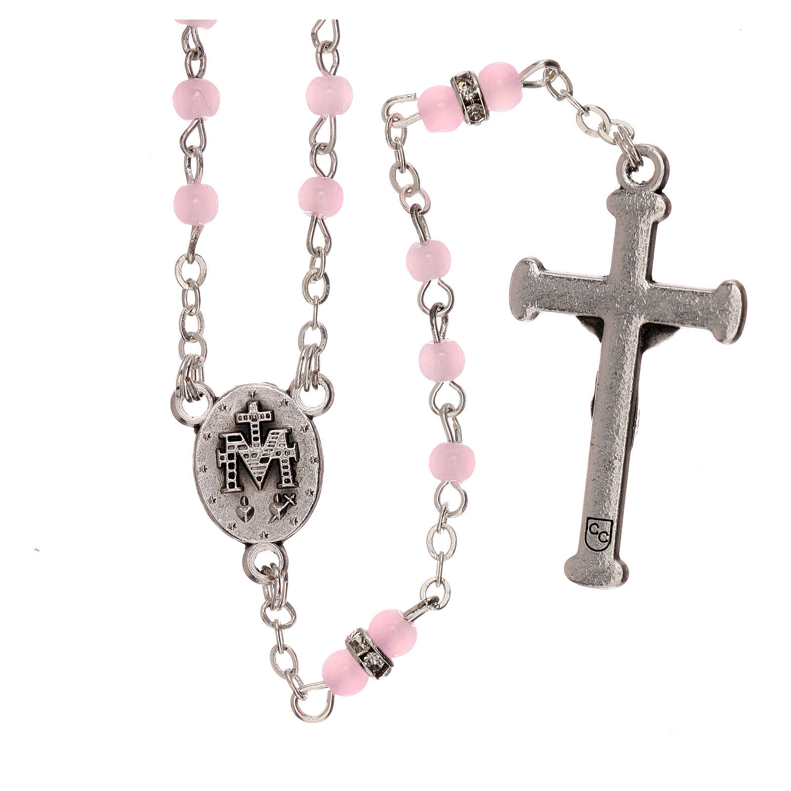 Rosary with beads in pink glass 1 mm 4