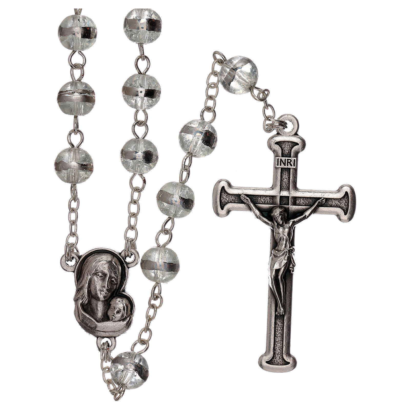Rosary with transparent beads 3 mm 4
