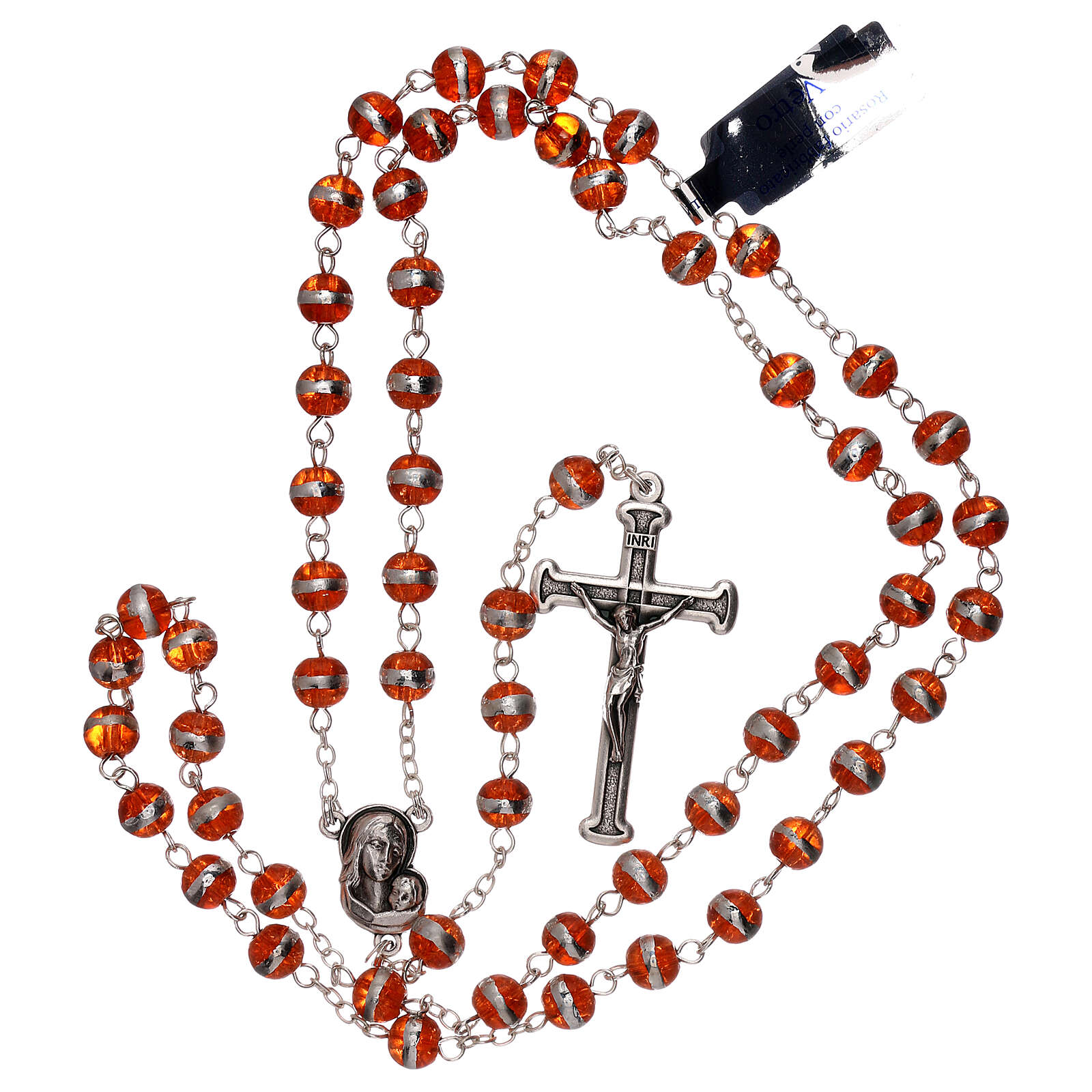 Rosary with orange beads 3 mm 4