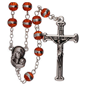 Rosary with orange beads 3 mm s1