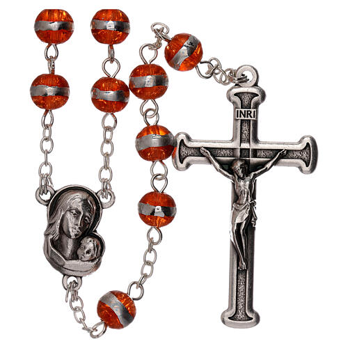 Rosary with orange beads 3 mm 1
