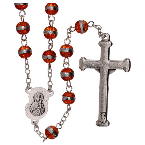 Rosary with orange beads 3 mm 2