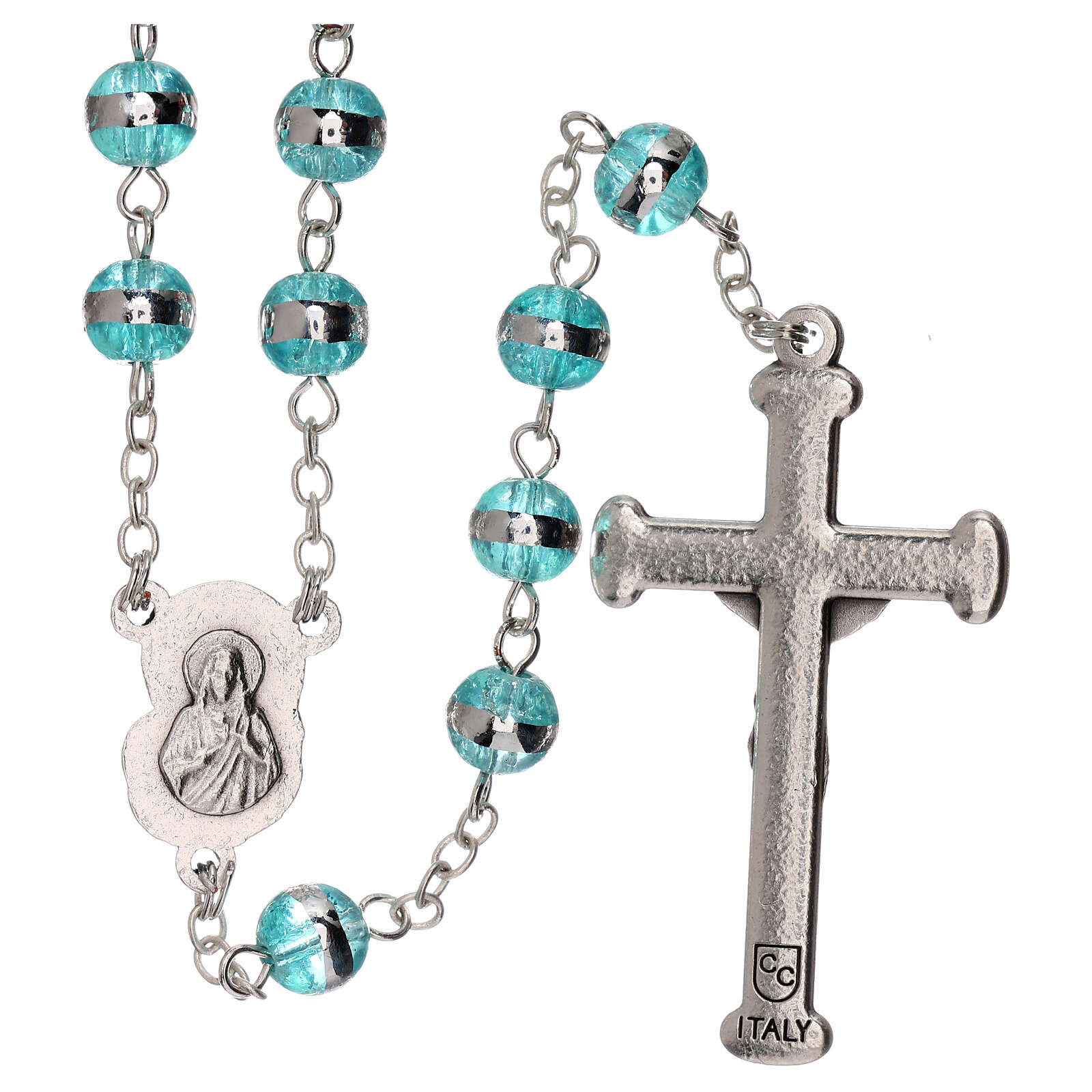Rosary with aqua green beads 3 mm 4