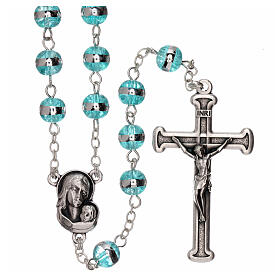 Rosary with aqua green beads 3 mm s1