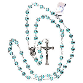 Rosary with aqua green beads 3 mm s4