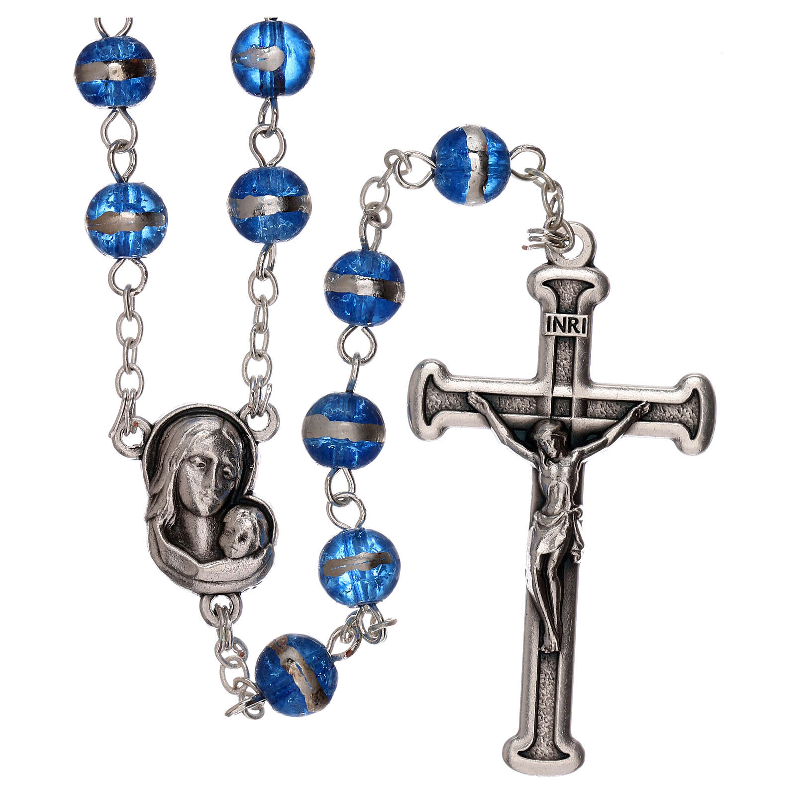 Rosary with blue beads 3 mm 4
