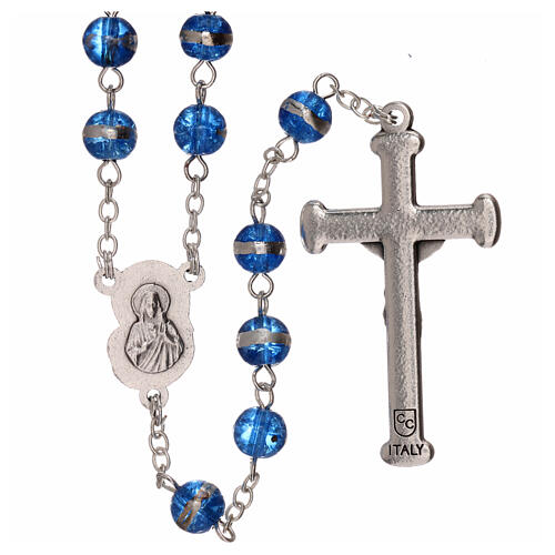 Rosary with blue beads 3 mm 2