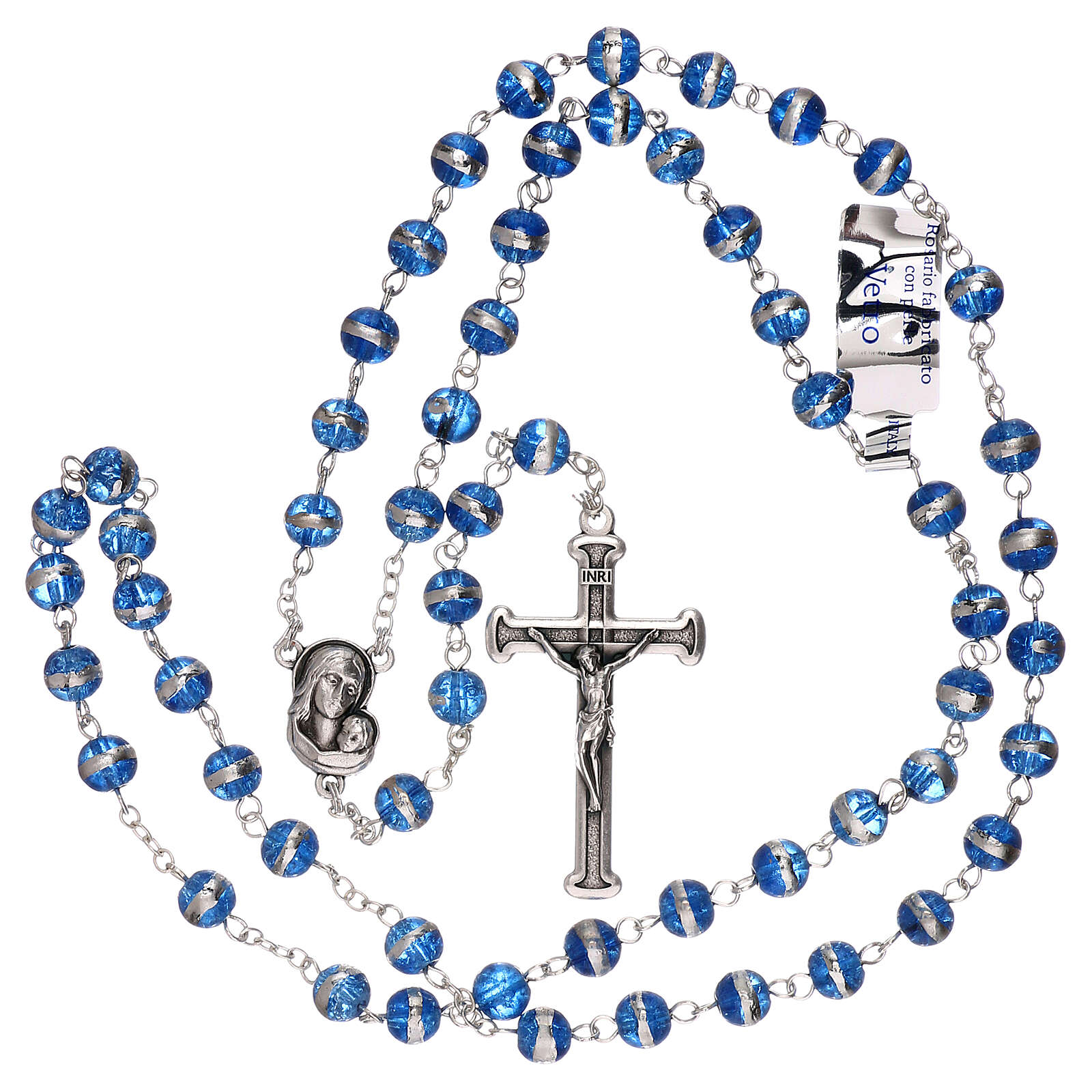 Rosary 3 mm beads blue glass 4