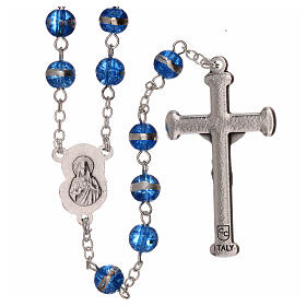 Rosary 3 mm beads blue glass s2