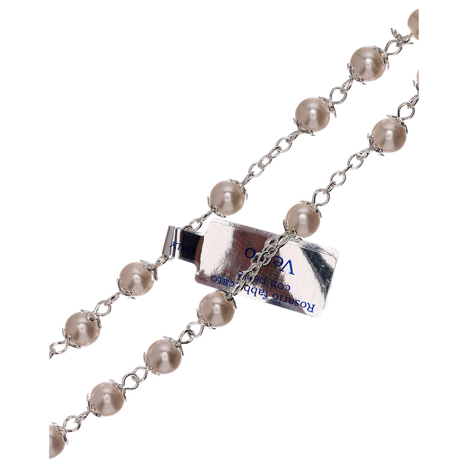 Rosario perla bianca vetro grani 3 mm 4