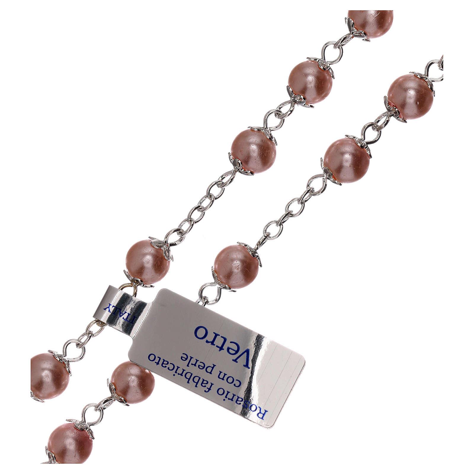 Rosario perla rosa vidrio granos 3 mm 4