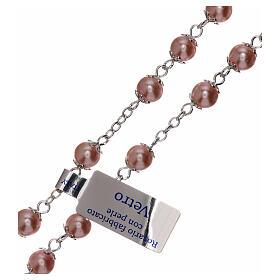 Rosario perla rosa vidrio granos 3 mm s3