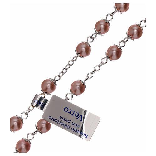 Rosario perla rosa vidrio granos 3 mm 3