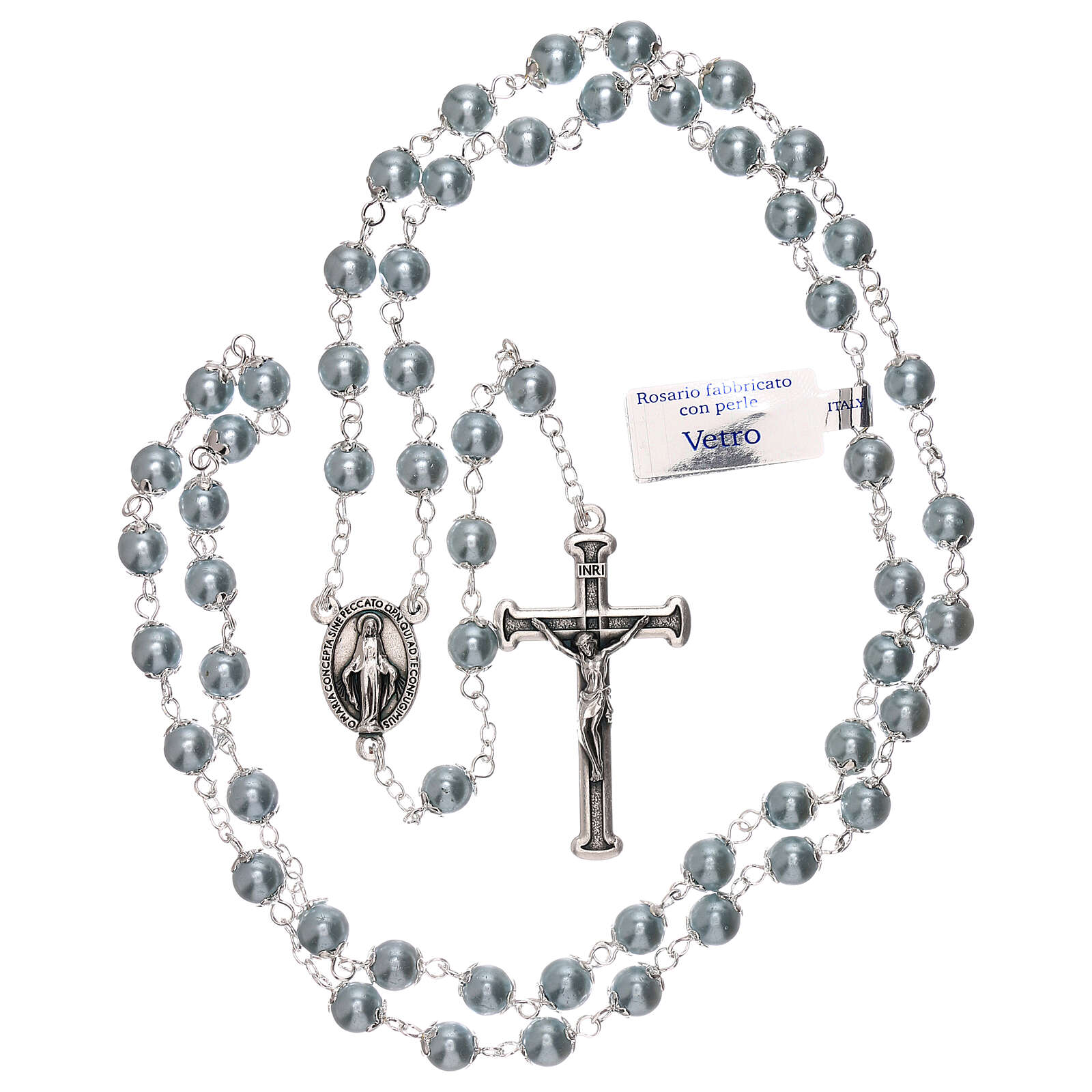 Rosary with sky blue pearl beads 3 mm 4