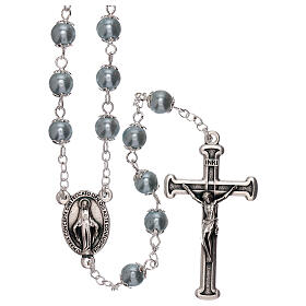 Rosary with sky blue pearl beads 3 mm s1
