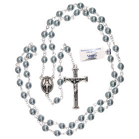 Rosary with sky blue pearl beads 3 mm s4