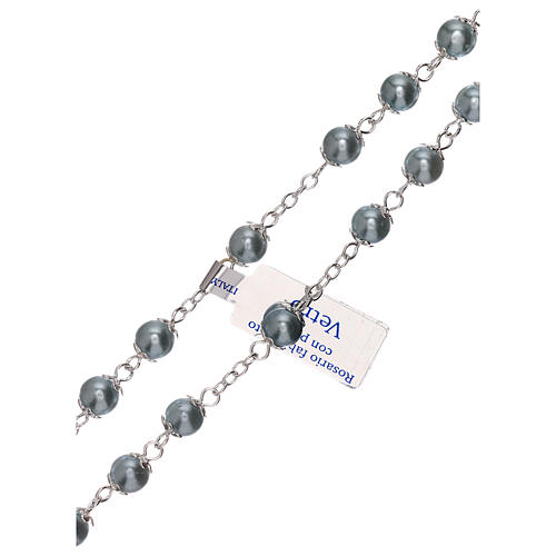 Rosario de vidrio perla celeste granos 3 mm 3